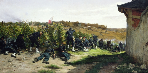 "The Tirailleurs de la Seine at the Battle of Rueil-Malmaison, 21st October 1870 (1875), by  Étienne-Prosper Berne-Bellecour.  (Oil on canvas,  103x203 cm; Château de Versailles, France; Giraudon).  Photo courtesy of The Bridgeman Art Library for use in ""The Hammock:  A novel based on the true story of French painter James Tissot,"" by Lucy Paquette © 2012"