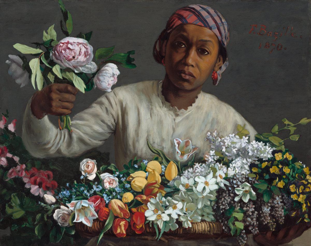 1870, Bazille, Young Woman with Peonies, NGA